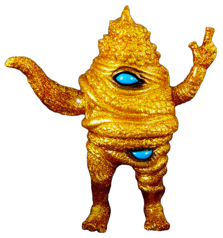 Paul Kaiju Unchiman Sofubi Scarab Gold Lame Glitter Soft Vinyl Desiner Toy Figure