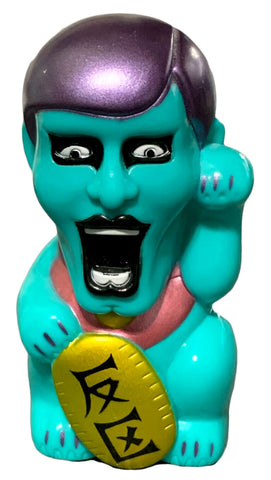 Punk Drunkers x RealxHead Aitsu Fortune Sofubi Lucky Cat Designer Toy Teal Vinyl Figure