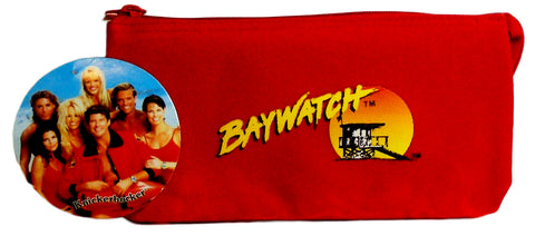 Retro Baywatch Bag Zipper Pouch, Pencil Case, Travel Makeup, Large Wallet 1996 Red Vintage New Old Stock w/ Tags