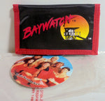 "Retro Baywatch Wallet Vintage Black Billfold 5"" Authentic 1996 New Old Stock w/ Tags"
