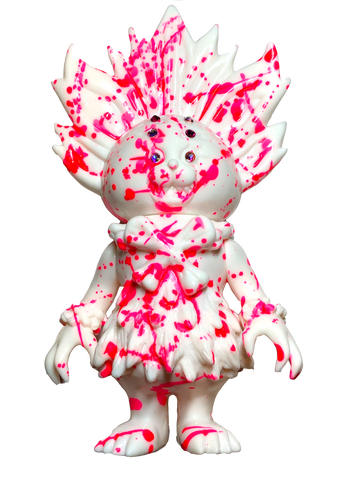 SIO Maharaja Sofubi One-Off Custom Kaiju White Soft Vinyl Figure w/ Pink Marble Splatter Paint