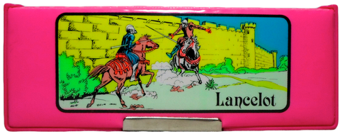 Sir Lancelot King Arthur Retro Pencil Box Biocal Greek Case Vintage 80's Pink Stationery