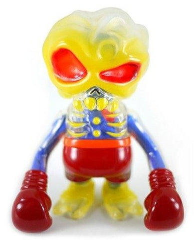Skull Brain Voodoo Fighter Sofubi w/ Blue Cloth Innards Designer Toy Figure