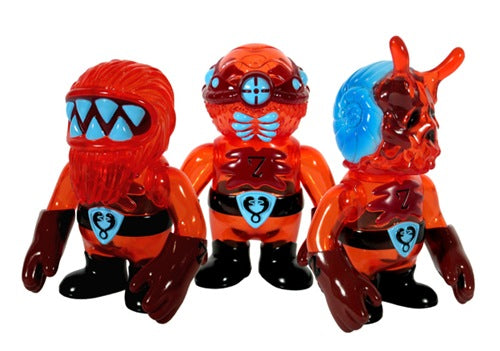 Super7 Snakes of Infinity Coffin Crew Red Sofubi Set (Hood Zombie, Escaregot, Spider-Eye, Zombeard Sofvi)