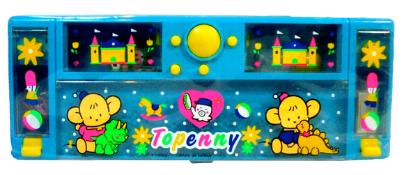 Topenny Vintage 80's Anime Pencil Case Mechanical Box Blue Stationary