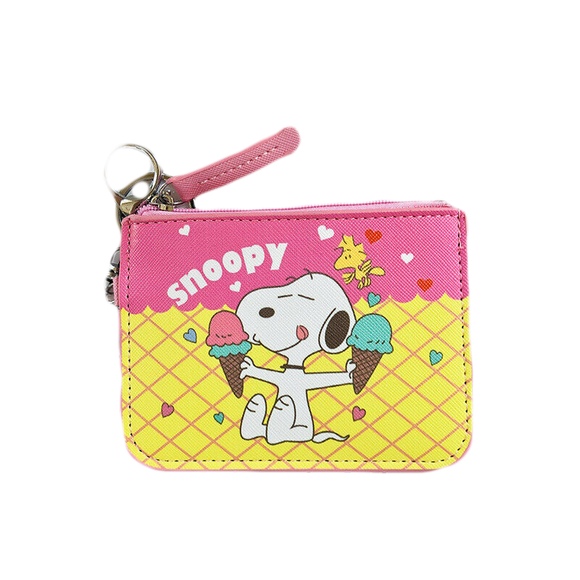 Retro Snoopy Wallet ID Card Case PU Leather Money Holder Bag w/ Zipper Pocket