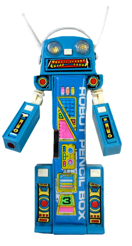 Vintage 80's Pencil Case Blue Robot Mecha Retro Multi-Function Mechanical Button Box Stationary Toy
