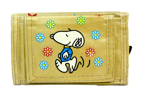 Retro Snoopy Wallet Vintage Peanuts Japan Sanrio Keroppi 5'' Yellow Billfold w/ Zipper