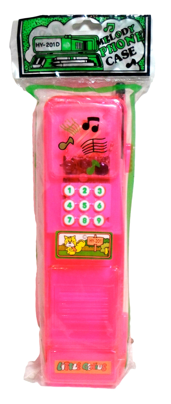 Vintage Little Genius Pencil Box Melody Phone Case 80's Taiwan Stationary HY-201D