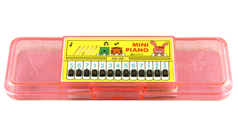 Vintage Mini Piano Pencil Case Musical Storage Box Stationary Made in Taiwan w/ Original Package & Works