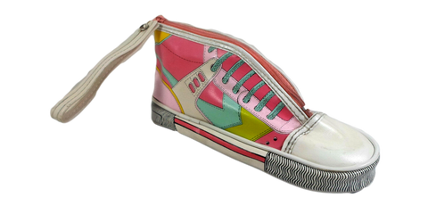 Vintage Shoe Shaped Pencil Case Retro 80's All Star Bag Vinyl Pouch w/ Zipper