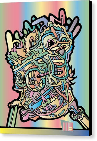 Aeqea Boogerman - Abstract Street Art Pastel Expressionism Human Cartoon Graffiti Vector Canvas Art Print