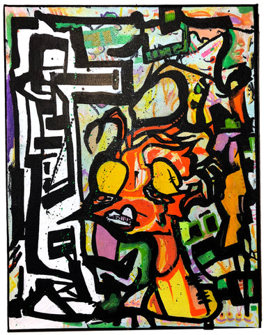 "AEQEA ""Sucks"" original acrylic painting on canvas"