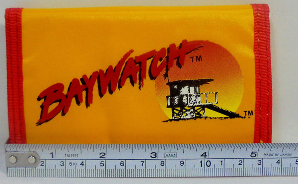 "Retro Baywatch Wallet Vintage Yellow Billfold 5"" Authentic 1996 New Old Stock w/ Tags"
