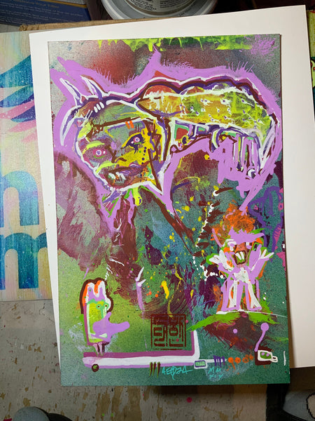 AEQEA untitled series - Hungry Eyes / Grub Hubby outsider art brut mixmedia painting 10.5x7
