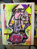 AEQEA untitled series - Cyber Flex / Annoy the Droid outsider art brut mixmedia painting 10.5x7