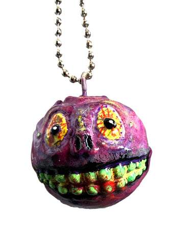 Mad Balls x AEQEA Skull Face Melt Custom Kid Robot Designer Vinyl Toy Pendant Necklace