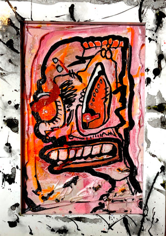 Chut Up AEQEA Art fake made mixed media abstract expressionism outsider anti-art brut wood framed panel puffy paint and two bedazzle beads