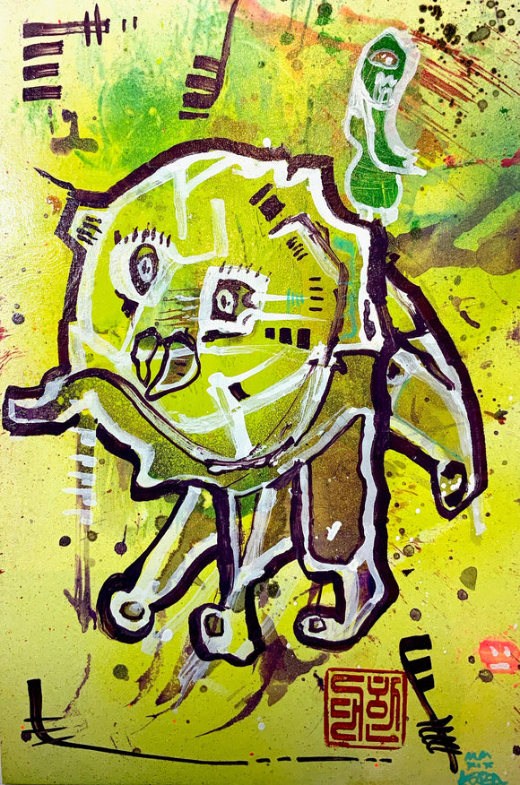 AEQEA untitled series - Bighead Ego Monster X Peckled Ass Betch, Mixmedia Painting 10.5x7
