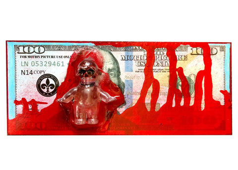 AEQEA Blood Money One Fake Made 100 Dollar Bill Custom Carded Kewpie Skull Art Toy Resin Figure