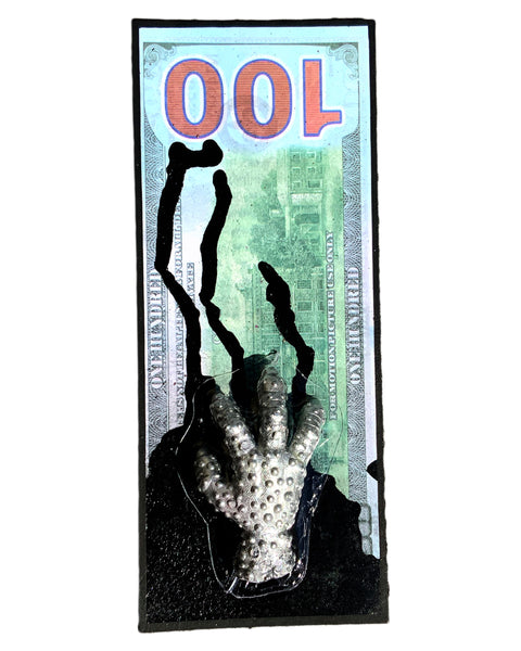 AEQEA Government Handout Dirty Money Motion Picture Dollar Bill Bootleg Resin Toy Art