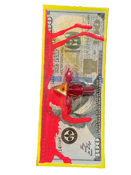 "AEQEA ""Federal Resurrection"" Fake Made custom carded miniature figure mashup outsider money art"
