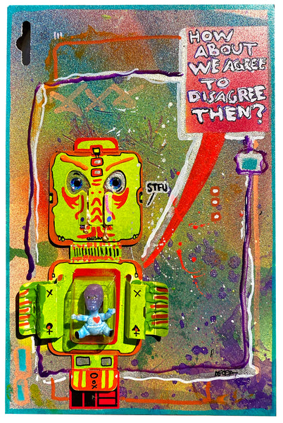 "AEQEA ""Host in the Machine / Garbage-in, Garbage-out / Holy Ghost"" original artwork mixed media outsider art toy figure inside clamshell on collage"