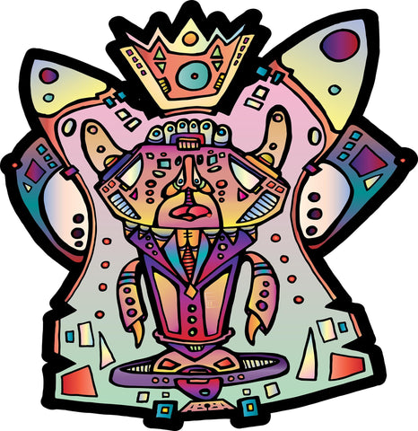"AEQEA ""Pop Culture Prophet"" vinyl die-cut illustration art sticker design 4"" x 3"""