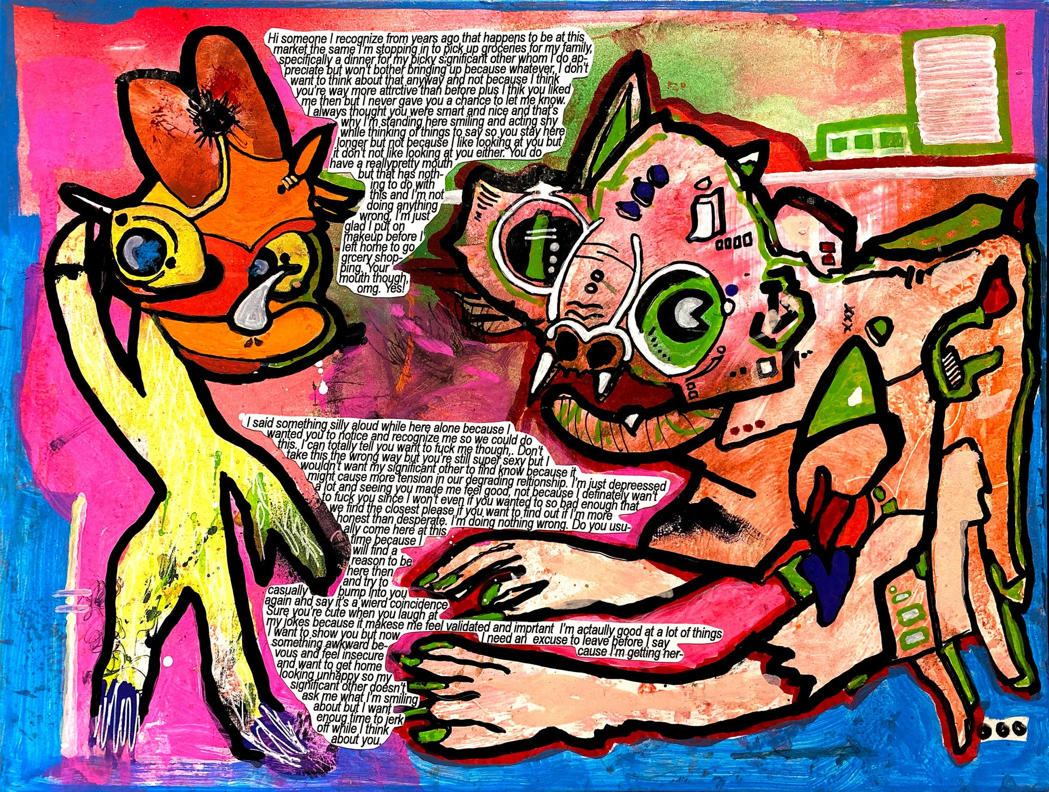 "AEQEA mixed media painting ""insignificant others"" aka ""who is talking to who may/may not be including any likeness to Daisy Duck property & trademark of Disney"""