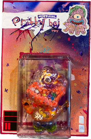 Phobia Toys Ugly Twins soft vinyl Pretti Boi customzed clear with guts unofficial designer toy edit by AEQEA