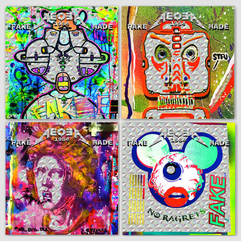 "AEQEA ""Friends & Foes"" hologram sticker pack of four (4) holographic 2x2 sticker art prints"