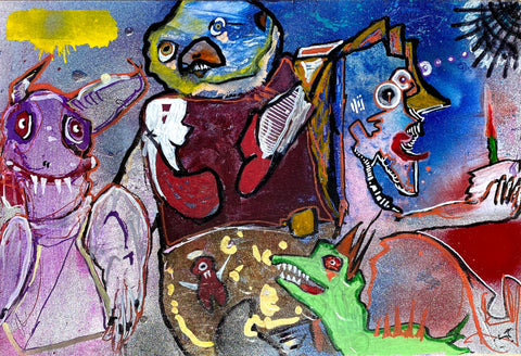 "AEQEA ""passing-through-midnight-with-multiple-monsters.jpg"" Painting"