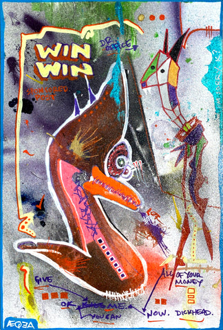 "AEQEA Original Artwork ""win-big-loser.jpg"" Mixed Media Painting"