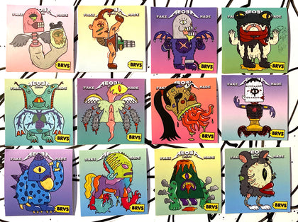 "BRVS x AEQEA Man+Machine=Monster Kaiju Cyberpunk Zodiac vinyl sticker art prints 3x3"" Limited Edition of 50"