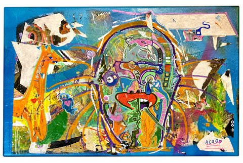 "AEQEA ""used canvas"" Original Mixmedia Painting"