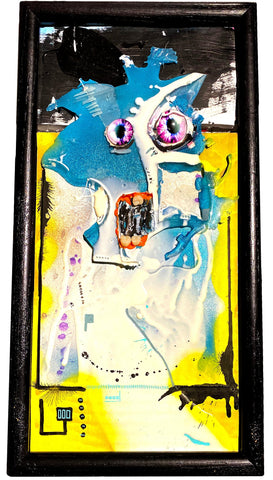 "AEQEA ""disenchanting discourse"" Original Artwork and Poetry (framed mixed media painting)"