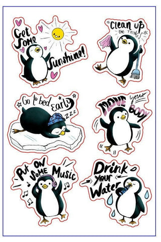 KimchiDoodle's Positive Penguin Self Care Sticker Sheet