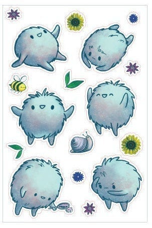 KimchiDoodle's Fluffy Creature Sticker Sheet