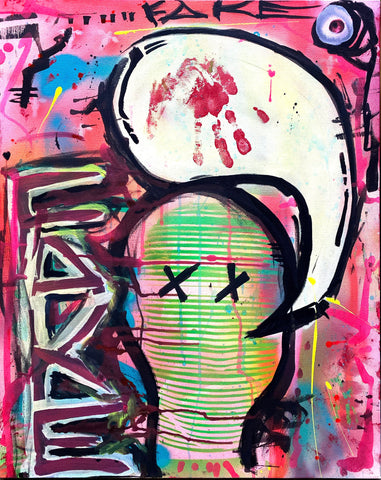 "AEQEA ""Fake Face"" original art painting on gallery canvas"