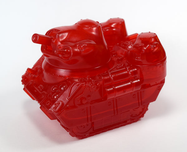 Max Toy Co. Kaiju Tank Sofubi Clear Red Unpainted Sofvi Soft Vinyl Designer Toy