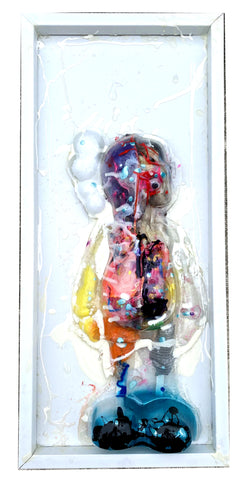 "AEQEA x KAWS ""Cause and FX, because an affection, claws an infection."" Companion clamshell mixed media clear with guts original art"