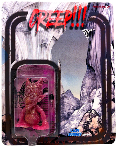 Lazy Sunday Creatures Creep!!! Glitter Resin Toy Art Figure on Custom Card