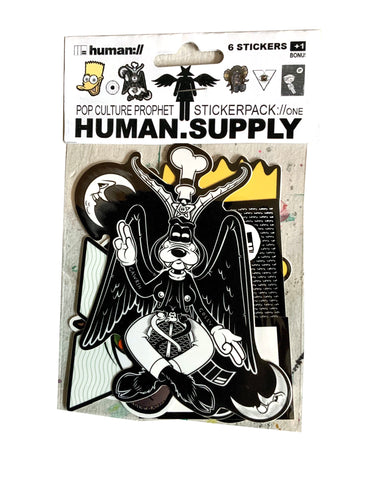 HUMAN.SUPPLY Pop Culture Prophet occult sticker pack one (6 stickers + freebie)