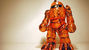 RealxHead Bigaroid Mecha Kaiju Sofubi Super7 Transparent Orange Black Painted Soft Vinyl Figure