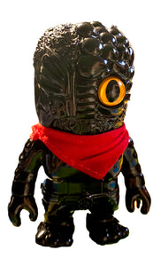 RealxHead Mini Mutant Chaosman Unpainted w/ Gold Eye Black Blank Sofubi Soft Vinyl Toy