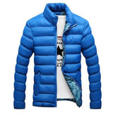 High Quality Light Blue Autumn Winter Warm Outwear Solid Male Windbreak-TheGymnist