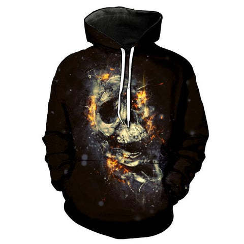 3D Melted Colored Skull Hoodie for Men-TheGymnist