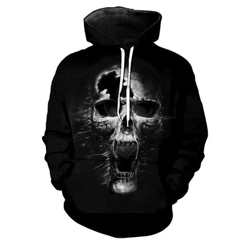 3D Dark Hollow Skull Hoody for Men-TheGymnist