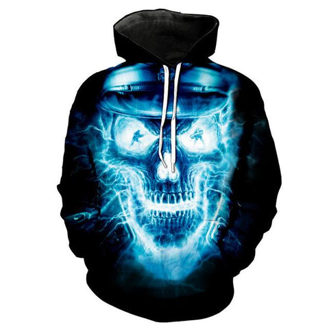 3D Melted Skull Hoodie for Men-TheGymnist