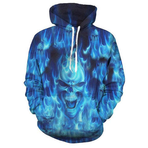 3D Melted Blue Flaming Skull Hoodie for Men-TheGymnist